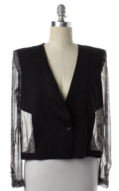 HELMUT LANG Black Abstract Print Wool Jacket