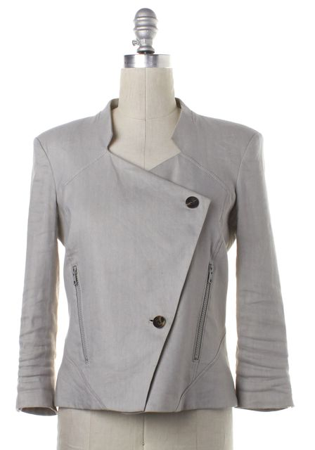 HELMUT LANG Light Gray Linen Asymmetric Jacket