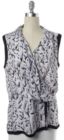 HELMUT LANG Black White Abstract Print Silk Wrap Top