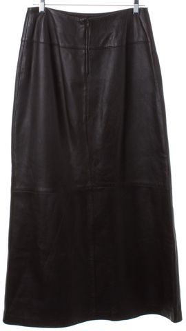 HELMUT LANG Brown Leather Long Skirt