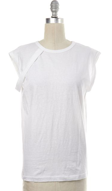 HELMUT LANG White Cotton Sleeveless Basic Tee T-Shirt