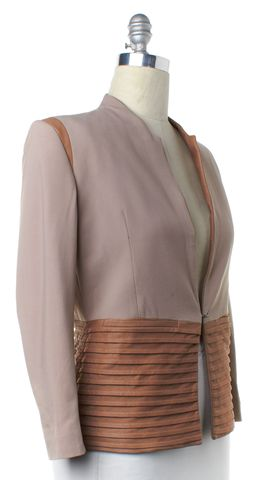 HELMUT LANG Pink Brown Wool Leather Combo Blazer