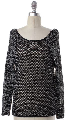 HELMUT LANG Black White Cotton Knit Boat Neck Sweater