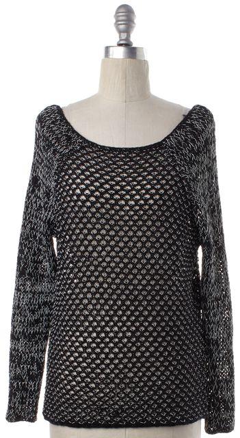 HELMUT LANG Black White Cotton Knit Boat Neck Sweater