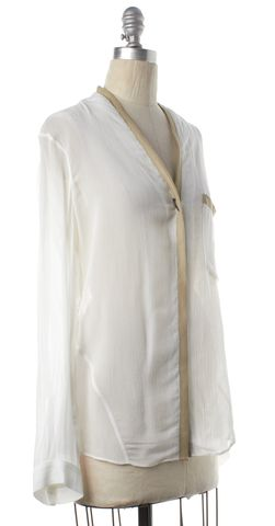 HELMUT LANG White Button Down Long Sleeve Top