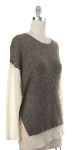 HELMUT LANG Gray Ivory Alpaca Mohair Knit Boat Neck Sweater