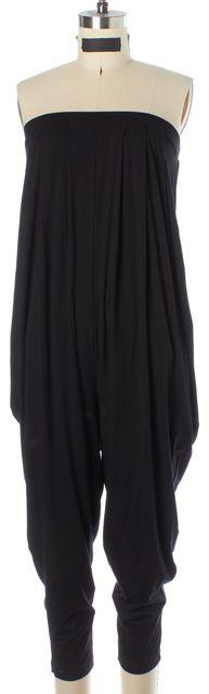 HELMUT LANG Black Modal Jersey Strapless Draped Blouson Cropped Jumpsuit