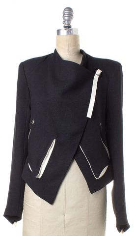 HELMUT LANG Navy Blue White Cropped Back Asymmetric Jacket