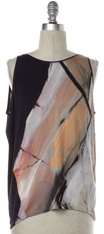 HELMUT LANG Black Multi-color Abstract Sleeveless Top