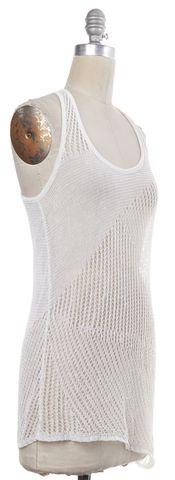 HELMUT LANG White Open Knit Linen Asymmetric Tank Top
