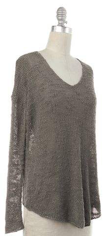 HELMUT LANG Taupe Gray Silk Knit V-Neck Sweater