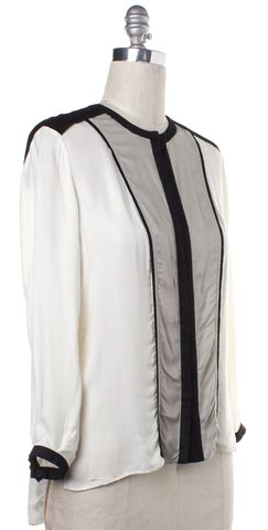 HELMUT LANG Ivory Black Striped Button Down Blouse