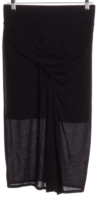 HELMUT LANG Black Draped Stretch Knit Skirt
