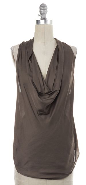 HELMUT LANG Olive Green Combo Asymmetrical Draped Neck Tank Top
