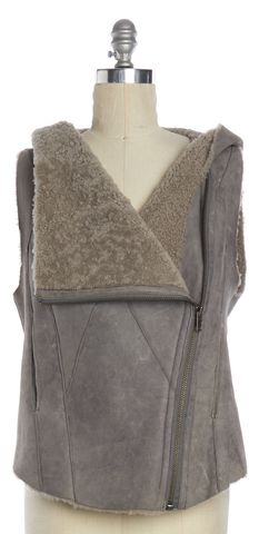 HELMUT LANG Gray Leather Cotton Shearling Hooded Vest