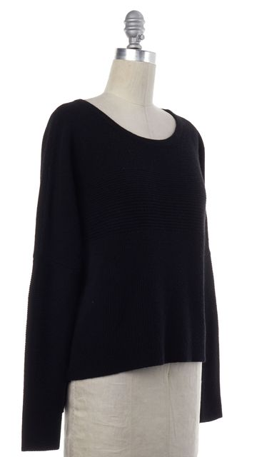 HELMUT LANG Black Wool Knit Scoop Neck Sweater