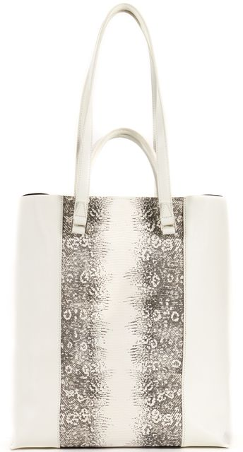 HELMUT LANG White Multi Color Lizard Embossed Leather Osfa Mimeo Tote Bag