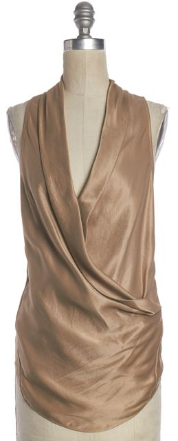 HELMUT LANG Gold Wrap Effect Sleeveless Blouse