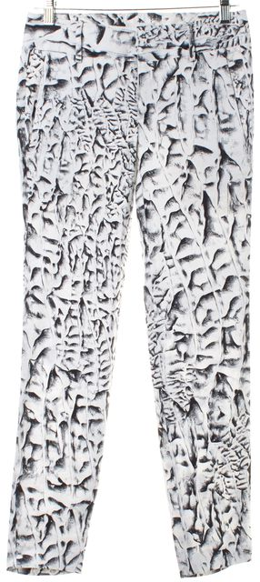 HELMUT LANG Black White Abstract Print Linen Skinny Pants