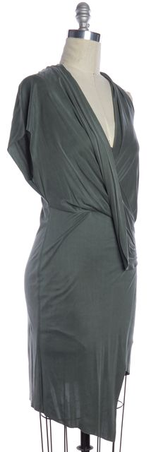 HELMUT LANG Green Jersey Draped Asymmetrical Hem Sheath Mini Dress