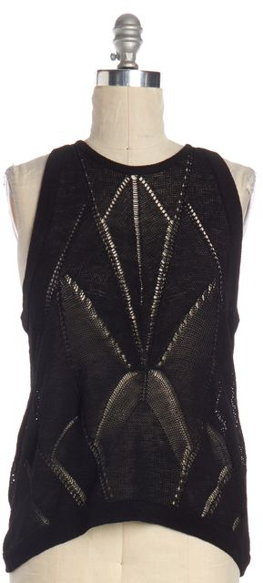HELMUT LANG Black Linen Knit Top