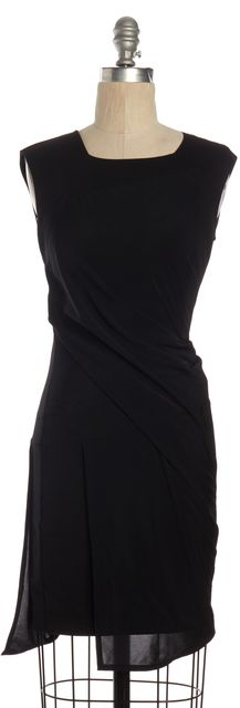 HELMUT LANG Black Draped Sleeveless Stretch Sheath Dress