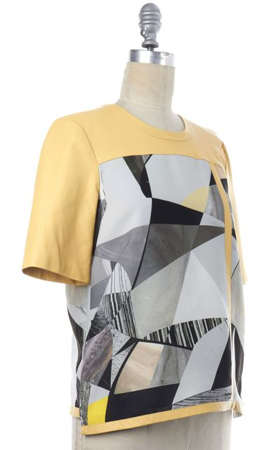 HELMUT LANG Yellow Lamb Leather Abstract Top