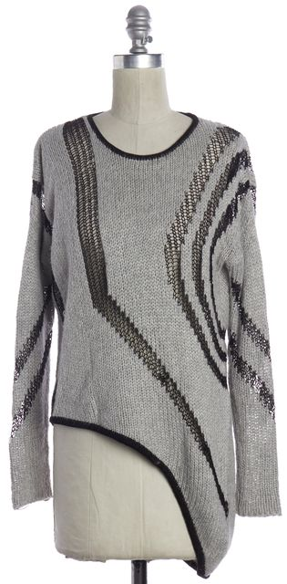 HELMUT LANG Gray Black Crewneck Sweater