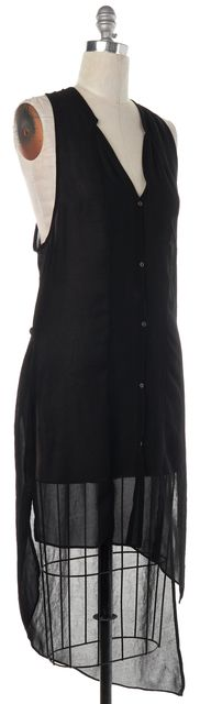 HELMUT LANG Black Sleeveless Button Down Shirt Dress