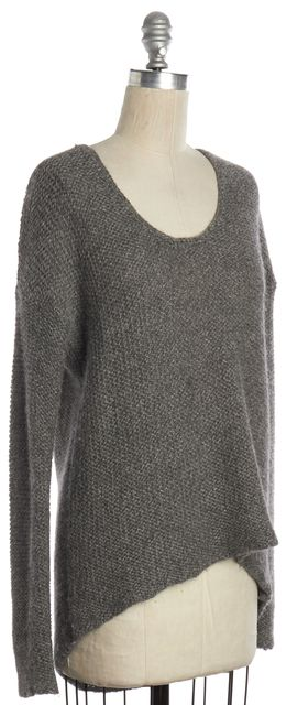 HELMUT LANG Gray Alpaca Wool Knit Scoop Neck Sweater
