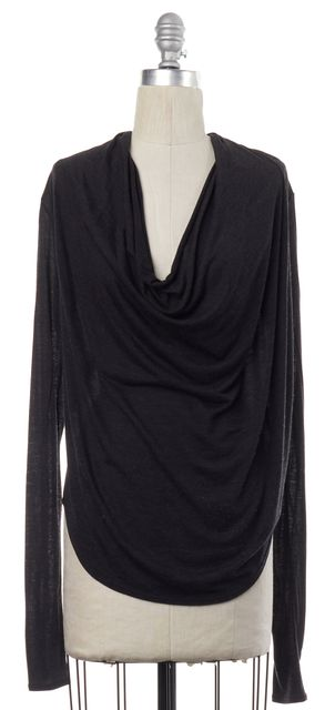 HELMUT LANG Gray Front Draped Blouse Top