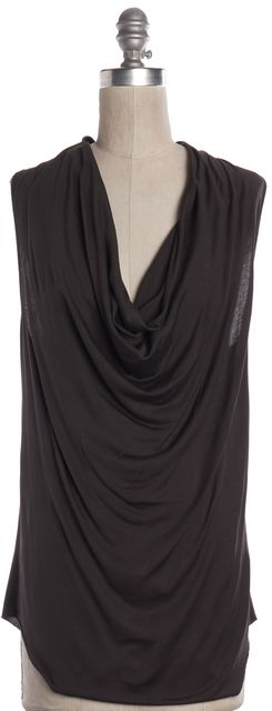HELMUT LANG Gray Front Draped Silk Sleeveless Blouse Top