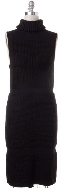 HELMUT LANG Black Turtleneck Sleeveless Sweater Dress