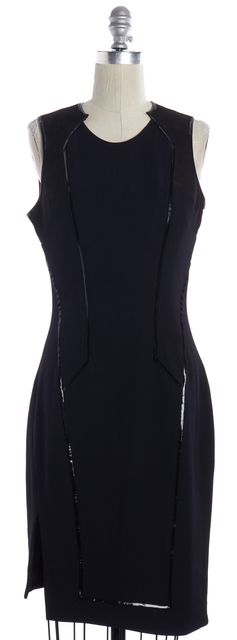 HELMUT LANG Black Shiny Silk Trim Faux Suede Detail Sheath Dress