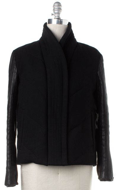HELMUT LANG Black Wool Leather Sleeve Asymmetrical Zip Jacket