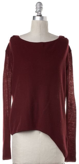 HELMUT LANG Red Hooded Asymmetric Hem Sweater