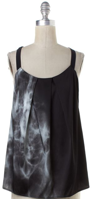 HELMUT LANG Black Gray Print Silk Tank Top