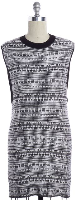 HELMUT LANG White Black Linen Knit Sleeveless Mini Shift Dress