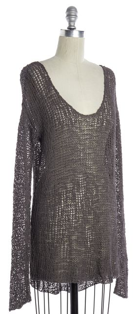 HELMUT LANG Taupe Gray Loose Knit Scoop Neck Sweater