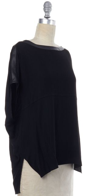 HELMUT LANG Black Oversized Short Sleeve Blouse Top