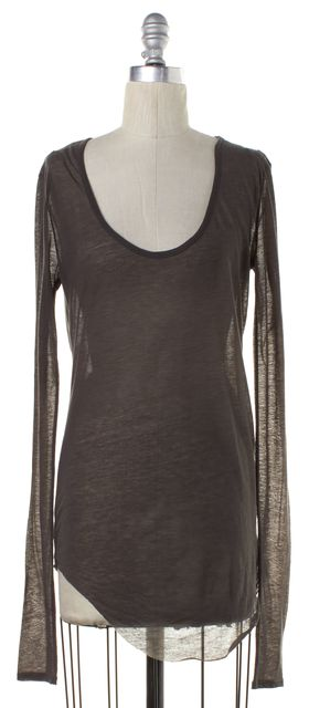 HELMUT LANG Gray Sheer Long Sleeve Top