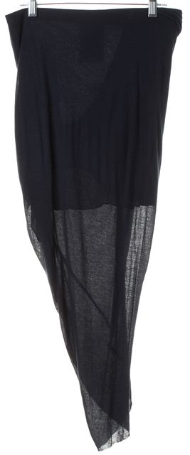 HELMUT LANG Navy Blue Asymmetrical Skirt
