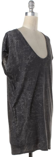 HELMUT LANG Gray White Abstract Print Tunic Top