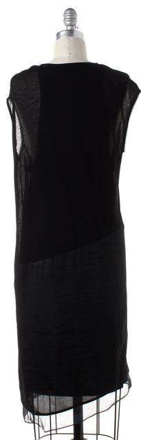 HELMUT LANG Black Jersey Satin Trim Shift Dress