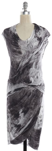 HELMUT LANG Gray White Abstract Printed Jersey Stretch Draped Sheath Dress
