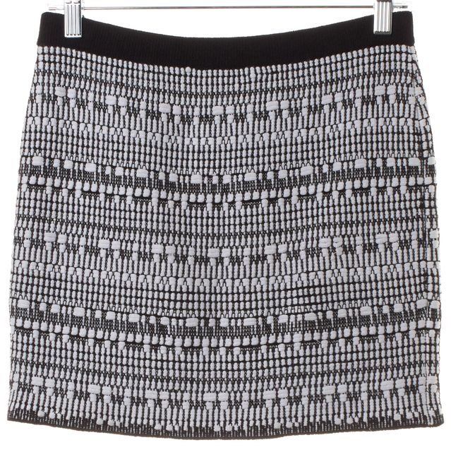 HELMUT LANG Black White Linen Mini Skirt
