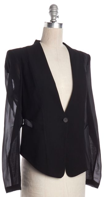 HELMUT LANG Black Wool Single Button Sheer Silk Sleeves & Panels Blazer