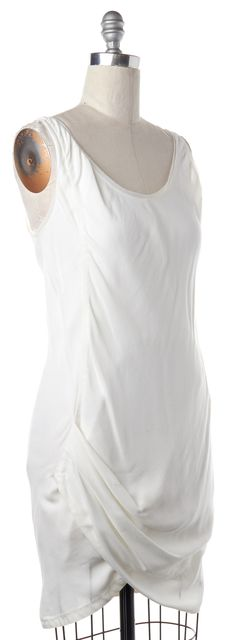 HELMUT LANG White Draped Asymmetrical Hem Dress