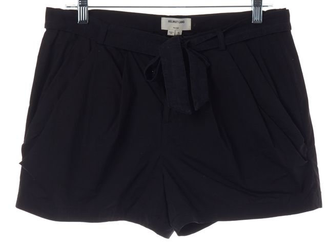 HELMUT LANG Black Cotton Belted Shorts