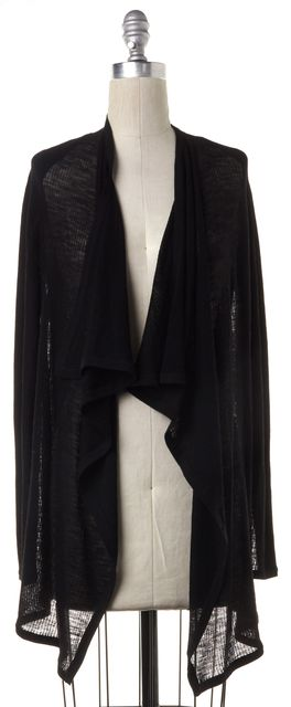 HELMUT LANG Black Wool Knit Open Cardigan